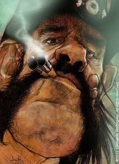 Title: Lemmy Kilmister Artist: Leonardo Rodriguez Exhibition: Caricaturama 3000 Art Height: ( 43 cm ) Art Width: ( 31 cm ) Medium: Digital, pencil & watercolor ) Resolution: 300 dpi