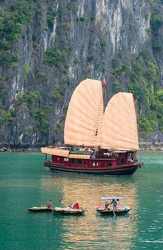 Chinese Junk on Ha Long Bay, Vietnam