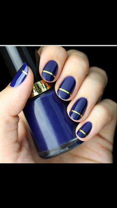 Royal blue & gold nails