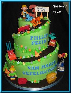 Bob the builder spiral cake - front view - Queenie's Cakes