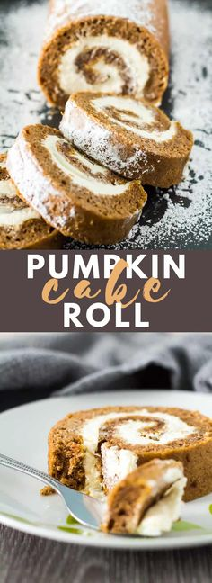 Pumpkin Cake Roll – Deliciously moist and fluffy cake roll that is loaded with pumpkin and warm spices, and is filled with a whipped cream cheese filling. The BEST pumpkin cake roll! – Rebel Without Applause Fall Dessert Recipes, Fall Desserts, Fall Recipes, Delicious Desserts, Dessert Ideas, Yummy Treats, Sweet Treats, Pumpkin Roll Cake, Pumpkin Dessert