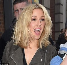 Chic: Ellie recently chopped her long blonde hair into an elegant lob or long bob...
