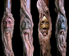 Sculpted Folk Art Walking Cane with Spiral Twisted Carved Wood Spirits Faces Ivory  Scrimshaw