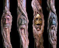 Sculpted Folk Art Walking Cane with Spiral Twisted Carved Wood Spirits Faces Ivory & Scrimshaw