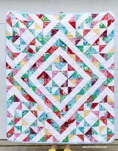 A Half Square Triangle Quilt using Alchemy by Amy Butler | happy together