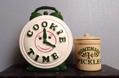 Vintage Monica's Cookie Time Clock Cookie Jar and Homemade Pickles 1c Crock Stoneware.  Friends TV Show. on Etsy, $699.00