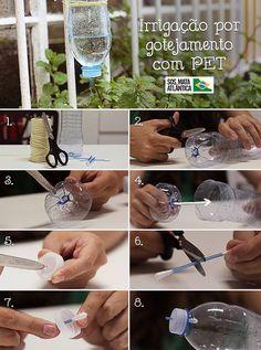 SOS Mata Atlântica: Irrigação por gotejamento. Para economizar água também no cuidado com as plantas, uma boa dica é fazer a irrigação por gotejamento com PET. Com materiais simples é possível preparar um gotejador caseiro que mantém a planta sempre úmida. Veja o passo a passo: 1. Você vai precisar de garrafa PET, tesoura, cotonete e barbante. 2. Para começar, corte o fundo da garrafa. 3. Faça furinhos na parte de baixo. Dica: Para facilitar, esquente a ponta da tesoura. 4. Coloque o fundo d