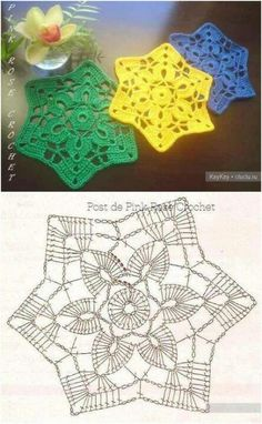 53 Ideas Knitting Charts Star Crochet Snowflakes For 2019 Crochet Stars, Crochet Snowflakes, Crochet Blocks, Crochet Flowers, Crochet Potholders, Crochet Doilies, Crochet Diy, Crochet Pillow, Thread Crochet
