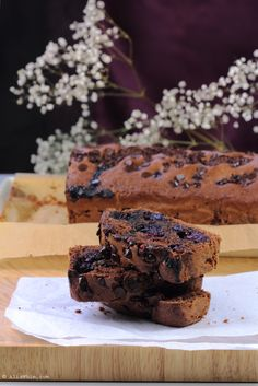 Chocolate and blueberries cake with almond drink, dairy free