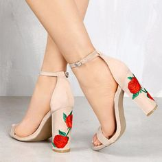 ed8c4eb54ee1 2019 Suede Shoes Woman Sandal Embroider High Heel Women Sandals Ethnic  Flower Floral Party Shoes Plus
