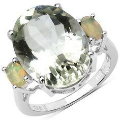 8.20 Carat Genuine Green Amethyst & Ethiopian Opal .925 Sterling Silver Ring