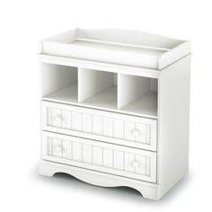 White Wood Baby Diaper Changing Table with 2 Drawers - Hearts Attic   - 1
