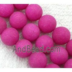 round matte jade beads, hot-pink dia, per st Jade Beads, Hot Pink, Peach, Pink, Peaches