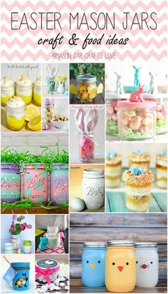 Sharing a collection of Easter craft and food ideas using mason jars, including: 1. Mason Jar Lemon Meringue Pies at It All Started With Paint 2. Easter Bunny Basket from Nest of Posies 3. Easter T…