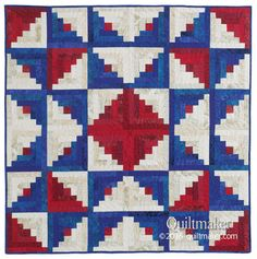 Let Freedom Ring Quilt Kit: A patriotic star appears from the creative placement of red and blue Log Cabin quilt blocks in this throw quilt designed by Carolyn Beam.