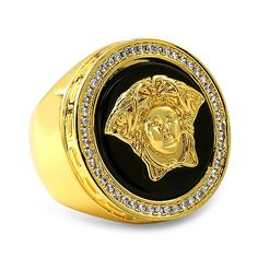 Brand New Onyx Medusa Bling Bling Gold Hip Hop Ring #swag #rapper #rap #buddha #hiphop #swagger #fashion #luxury @hiphopbling #new