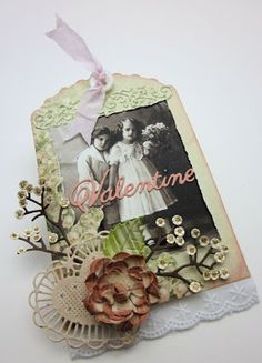 """I added the sentiment over the printed vintage picture - and cut away the original """"S"""", so that it would just read Valentine. #cheeryld #beadz Dies used: Valentine's (Set of 2) - B229; Chasing Rainbows Doily with Angel Wing - DL229; Mini Flourish Band - B176; Embellishment #2 - B188; Two Of Hearts - DL128; Miniature Rose - B152; Medium Rose - B154; Large Rose - B155; Rose Leaf Strip - B241 http://www.cheerylynndesigns.com"""