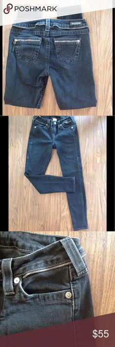 """True Religion jeans denim black  Halle skinny sz27 True Religion jeans. Size 27. Halle style. Inseam is about 29"""".Detailed with zipper back pockets and zipper look around the waist. Black color. Skinny. Please look at all pictures before you purchase. And ask any questions. Thanks! True Religion Jeans Skinny"""