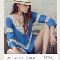 Gorgeous Blue and white Lace Tunic ,Boho Delight💜 This piece is beautiful and versatile, can be worn as a shirt/ tunic, dress, beach cover up, you choose, dress it up or down !!!! 💜💜💜💜💜💜💜💜💜💜💜💜💜💜✌️✌✌✌ myirelandrose Dresses Mini