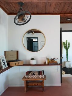 joshua tree casita airbnb living room with tongue-and-groove wood ceiling, kate sears photo