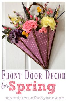 An adorable spring decoration for your front door, using a faux umbrella and artificial flowers. PLUS tips to arranging flowers! Umbrella Wreath, Umbrella Decorations, Spring Decorations, Spring Door Wreaths, Easter Wreaths, Summer Wreath, Artificial Flower Arrangements, Artificial Flowers, Diy Room Decor For Teens