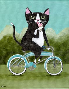 Black and White Cat with Ice Cream on Bicycle