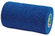 """Co-Flex 4"""" Blue by Andover. $7.61. A lightweight cohesive flexible bandage. Provides an excellent pressure bandage without cutting off circulation. This makes Co-Flex a safer bandage. Provides excellent porosity, non-irritating, allows the skin to breathe. Adheres to itself, no clips or fasteners are needed. Each roll is 5 yards long and comes in 2"""", 4"""" or 6"""" widths. Contains latex."""