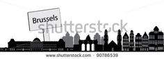 Skyline Brussels with name plate - stock vector