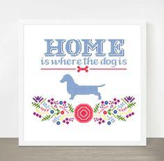 Cross Stitch Pattern PDF, Modern Cross Stitch, Colorful Cross Stitch Pattern, Needlecraft, Home Is Where The Dog Is Dachshund