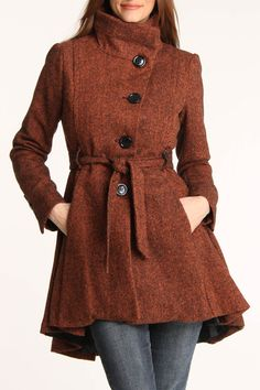 Steve Madden Asymmetrical Belted Wool Coat In Orange
