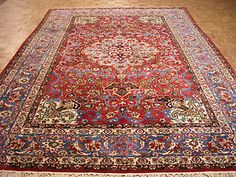 9x13 Antique Persian Oriental Fine Isfahan Hand Knotted Wool Red Carpet Rug