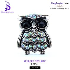 Studd your fingers with this uniquely studded adjustable owl ring! ‪#‎BlingStation‬ ‪#‎fashion‬ ‪#‎FashionJewellery‬ ‪#‎adjustable‬ ‪#‎ring‬ ‪#‎Jewelry‬