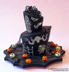 """Nightmare Before Christmas""-inspired wedding cake created by designer/artist Dahlia Weinman, owner of Dahlia's Custom Cakes in Ann Arbor, Michigan...."