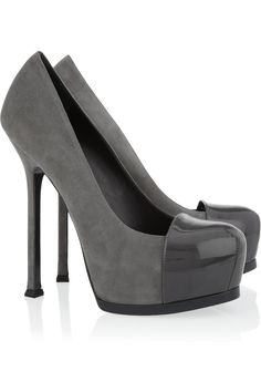 Yves Saint Laurent Tribtoo suede and patent-leather pumps