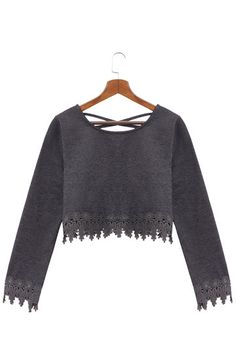 Dark Grey Lace Shirt With Cross Back Details - US$13.95 -YOINS