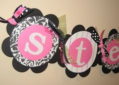 Girl Damask Nursery/Name banner by pricelessoccasions on Etsy, $20.00