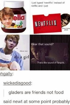 Okay, this is so brilliant. And in the bottom left hand corner, that picture: in the movie when Newt said that HIS ACCENT WAS SO SHUCKING ADORABLE I REALLY CAN'T EVEN.
