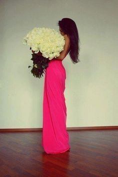 hot pink dress + white roses