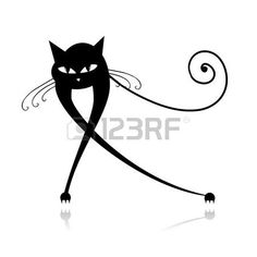 Black cat silhouette for your design photo