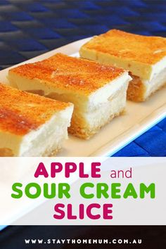 This Apple and Sour Cream Slice is one heavenly dessert. Sweet, tangy melt-in-your-mouth deliciousness. We love how well apple and sour cream go together. The two layers just complement each other so well! Apple Sour Cream Slice, Banana Sour Cream Cake, Sour Cream Desserts, Fluff Desserts, Fudge Recipes, Apple Recipes, Sweet Recipes, Baking Recipes, Cake Recipes