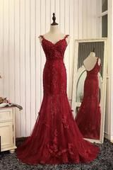 Red organza lace applique v-neck open back long prom dresses, mermaid dresses - US14 / Same as image