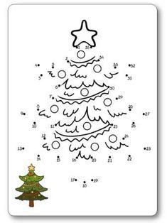 Jeu des points à relier de 1 à 35 le sapin                                                                                                                                                                                 Plus Fun Worksheets For Kids, Christmas Worksheets, Christmas Activities For Kids, Kids Christmas, Merry Christmas, Coloring Sheets, Coloring Books, Coloring Pages, Christmas Colors