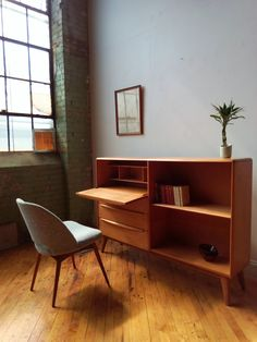 on hold restored heywood wakefield m328w desk and bookcase atomic