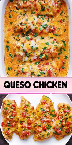 Baked Queso Chicken will be your new favorite weeknight meal! It's not only QUICK and EASY, but delicious. With just a few ingredients and a special tip, you will have moist and tender chicken on the table with almost no effort. Chicken Queso Recipe, Popeyes Spicy Chicken Recipe, Chicken Recipes, Dinner Entrees, Dinner Recipes, Food Dishes, Main Dishes, Cooking Recipes, Healthy Recipes