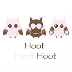 Secretly Designed Owl Trio-Hoot Art Print