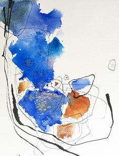 Josee Prudhomme 2016 - encre et aquarelle sur papier - watercolour and ink - calligraphie contemporaine et abstraite - abstract calligraphy