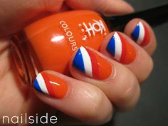 When most people think of orange nail, the first thing that pops into mind is usually Halloween. While black and orange nail are perfect for this spooky. Chevron Nails, Orange Nails, Blue Nails, Red Nail, Nail Nail, Nail Polish, Orange Nail Designs, Nail Art Designs, Nails Design