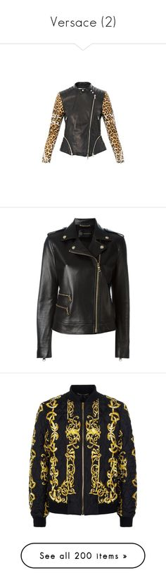 """""""Versace (2)"""" by bianca-cazacu ❤ liked on Polyvore featuring outerwear, jackets, black, biker jackets, rider jacket, moto jackets, versace, long sleeve jacket, men's fashion and men's clothing"""