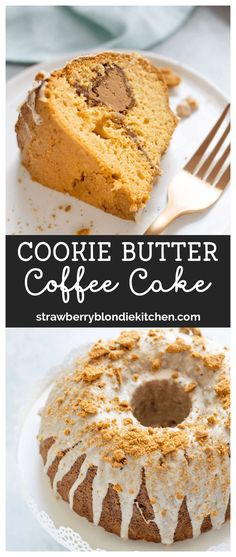 cookie butter pie Dessert of breakfast? You decide but this Cookie Butter Coffee Cake is moist and delicious with a thick layer of cookie butter in the center. It's topped off with a brown butter glaze and crushed Biscoff cookies. Easy Cake Recipes, Best Dessert Recipes, Cupcake Recipes, Easy Desserts, Baking Recipes, Sweet Recipes, Delicious Desserts, Cupcake Cakes, Bundt Cakes