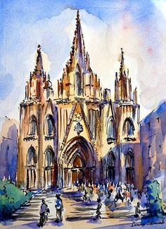 Cathedral of Santa Eulalia Urban Landscape, Landscape Art, Watercolor Sketch, Watercolor Paintings, Barcelona Architecture, Gothic Cathedral, City Painting, Painter Artist, Church Building